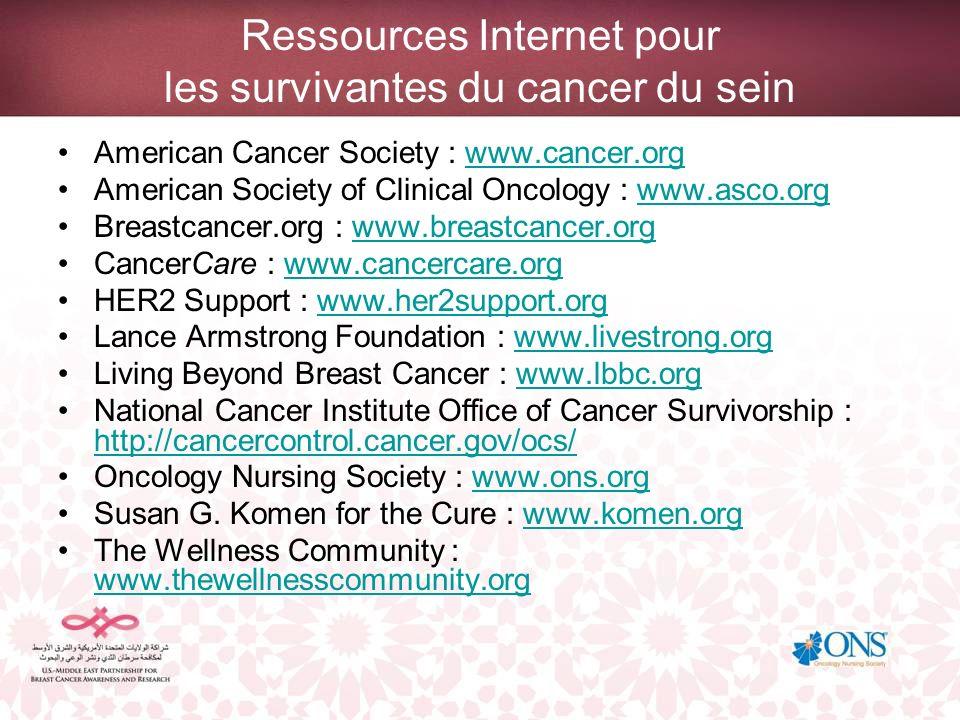 Ressources Internet pour les survivantes du cancer du sein American Cancer Society : www.cancer.orgwww.cancer.org American Society of Clinical Oncolog