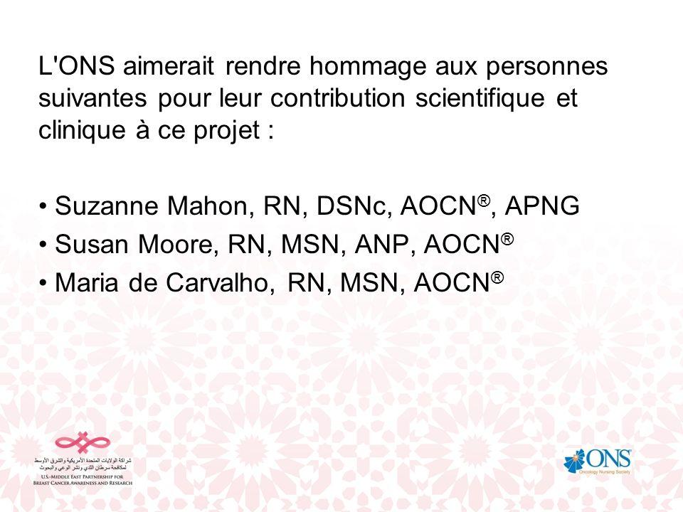 L'ONS aimerait rendre hommage aux personnes suivantes pour leur contribution scientifique et clinique à ce projet : Suzanne Mahon, RN, DSNc, AOCN ®, A