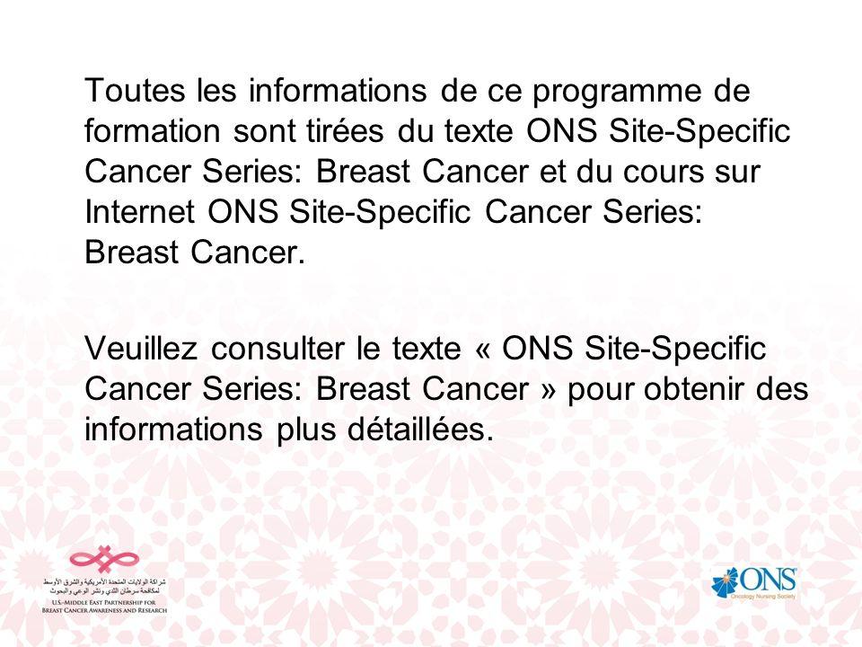 Toutes les informations de ce programme de formation sont tirées du texte ONS Site-Specific Cancer Series: Breast Cancer et du cours sur Internet ONS