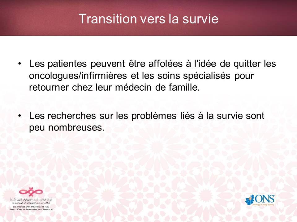 Transition vers la survie Les patientes peuvent être affolées à l'idée de quitter les oncologues/infirmières et les soins spécialisés pour retourner c