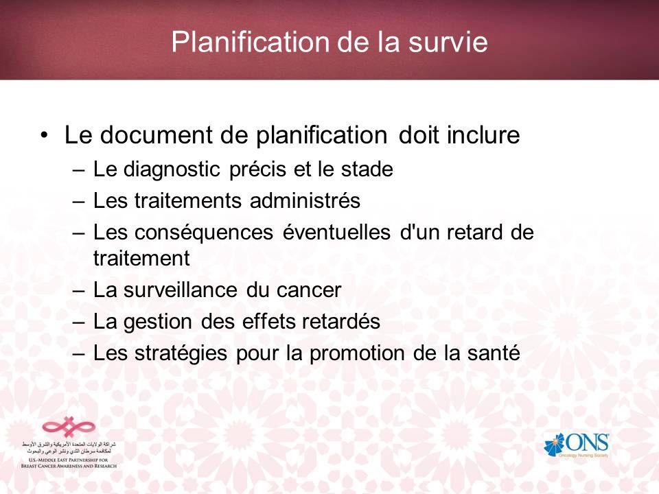 Planification de la survie Le document de planification doit inclure –Le diagnostic précis et le stade –Les traitements administrés –Les conséquences