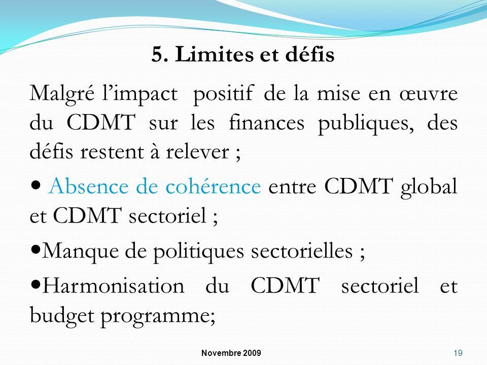 5. Limites et défis Malgré limpact positif de la mise en œuvre du CDMT sur les finances publiques, des défis restent à relever ; Absence de cohérence