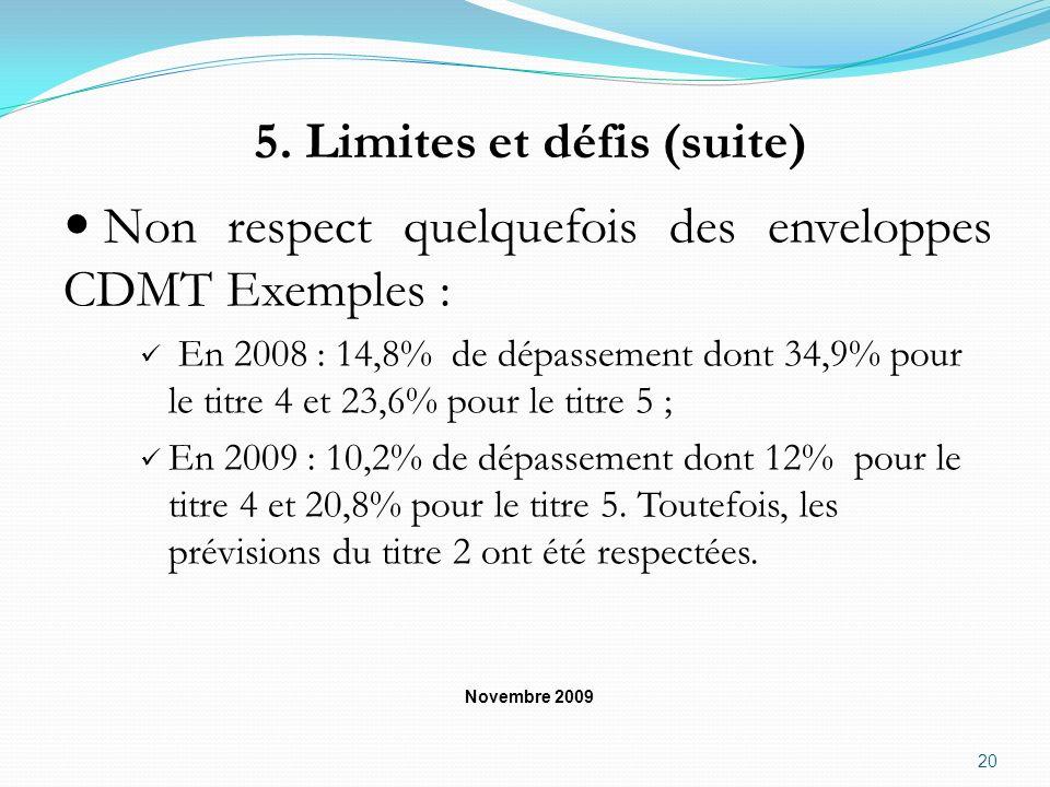 5. Limites et défis (suite) Non respect quelquefois des enveloppes CDMT Exemples : En 2008 : 14,8% de dépassement dont 34,9% pour le titre 4 et 23,6%