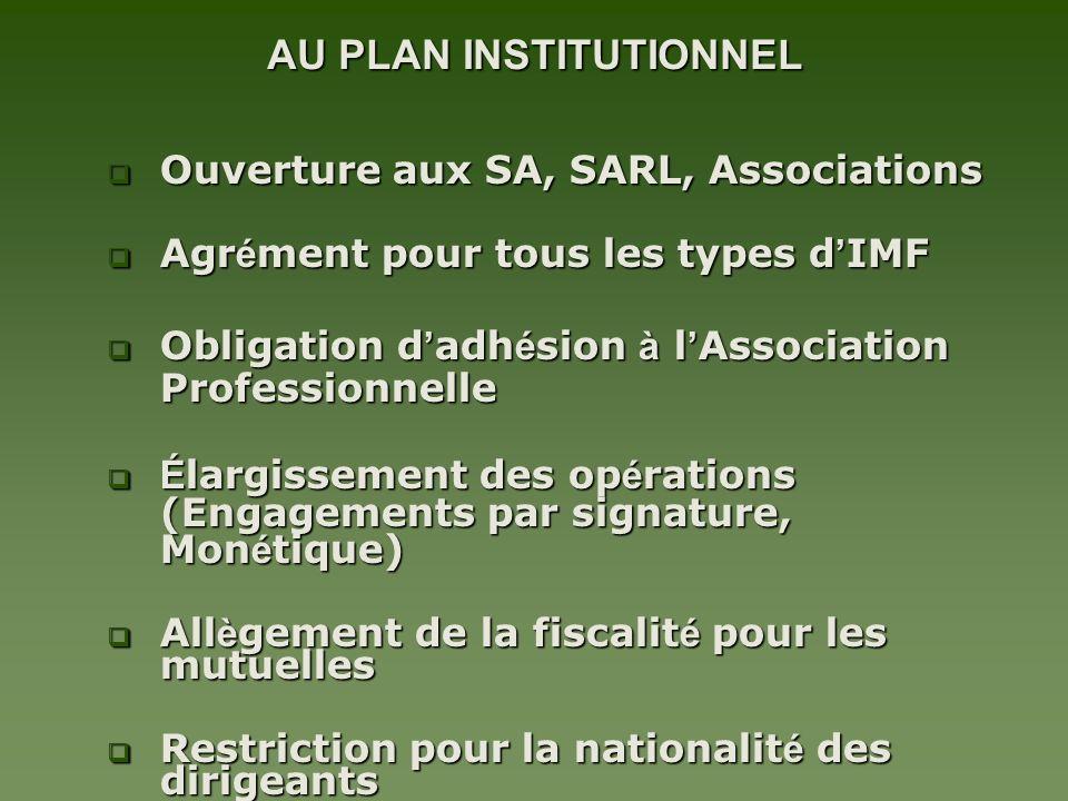 AU PLAN INSTITUTIONNEL Ouverture aux SA, SARL, Associations Ouverture aux SA, SARL, Associations Agr é ment pour tous les types d IMF Agr é ment pour