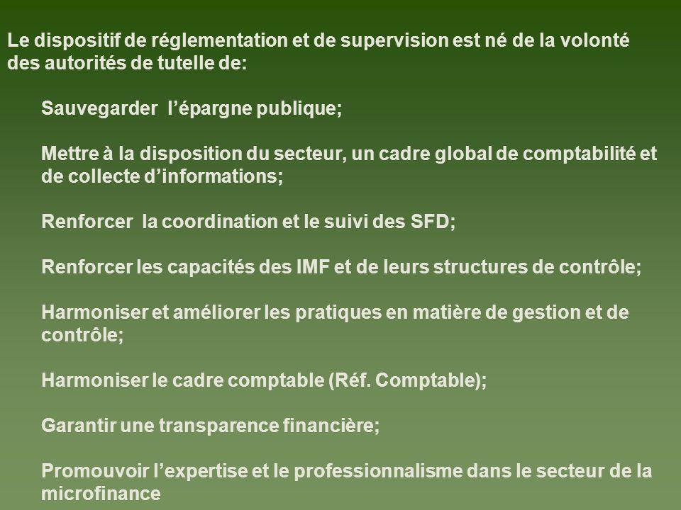 Le dispositif de réglementation et de supervision est né de la volonté des autorités de tutelle de: Sauvegarder lépargne publique; Mettre à la disposi