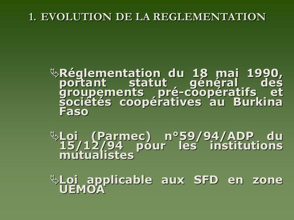 1. EVOLUTION DE LA REGLEMENTATION Réglementation du 18 mai 1990, portant statut général des groupements pré-coopératifs et sociétés coopératives au Bu
