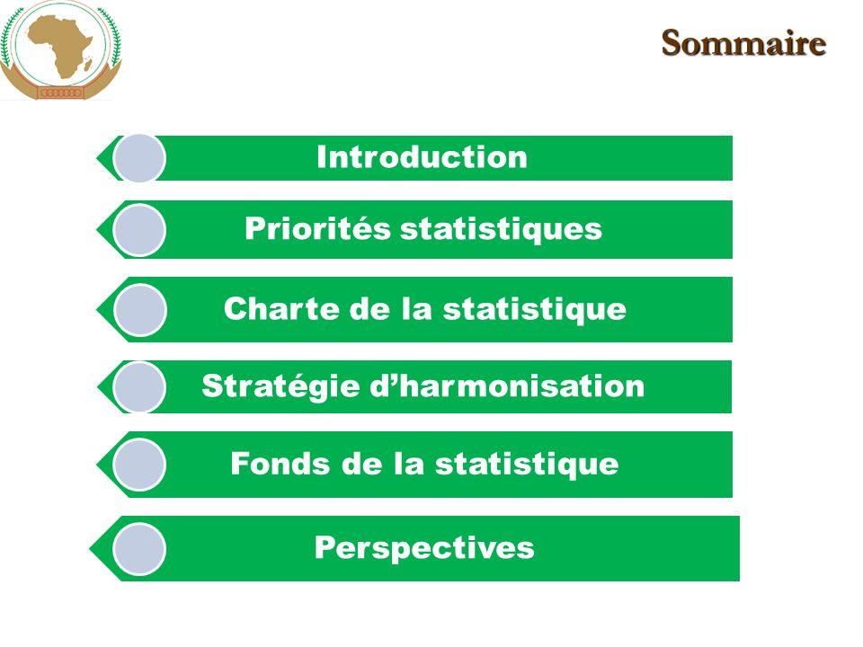 Sommaire Introduction Priorités statistiques Charte de la statistique Stratégie dharmonisation Fonds de la statistique Perspectives
