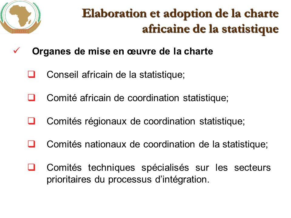 Elaboration et adoption de la charte africaine de la statistique Organes de mise en œuvre de la charte Conseil africain de la statistique; Comité africain de coordination statistique; Comités régionaux de coordination statistique; Comités nationaux de coordination de la statistique; Comités techniques spécialisés sur les secteurs prioritaires du processus dintégration.
