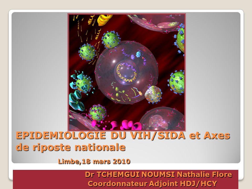 EPIDEMIOLOGIE DU VIH/SIDA et Axes de riposte nationale Limbe,18 mars 2010 Dr TCHEMGUI NOUMSI Nathalie Flore Coordonnateur Adjoint HDJ/HCY