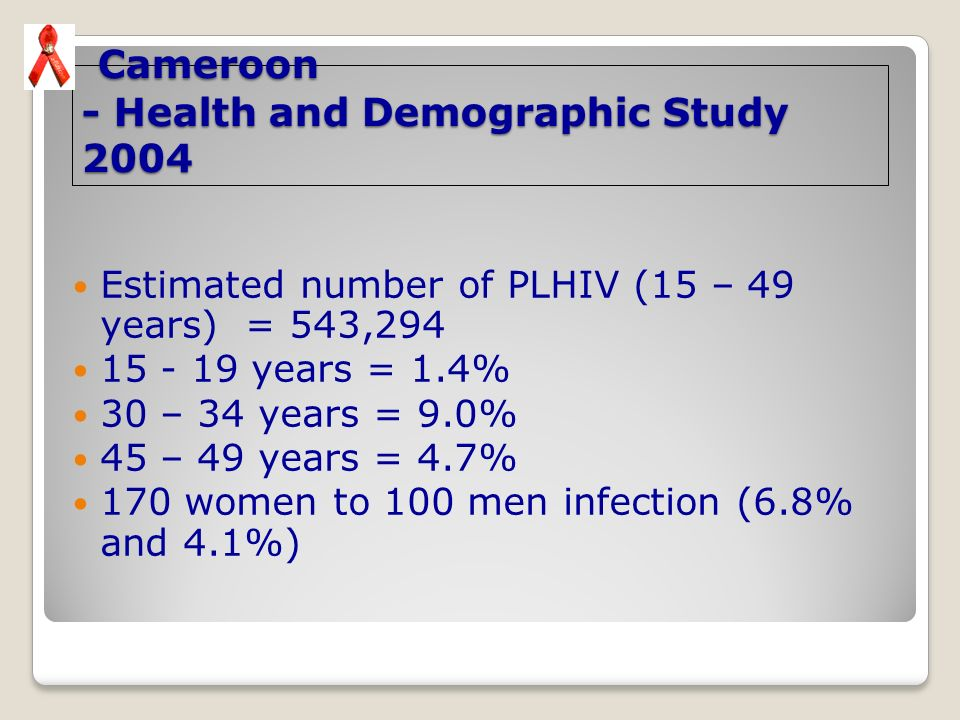 Cameroon - Health and Demographic Study 2004 Cameroon - Health and Demographic Study 2004 Estimated number of PLHIV (15 – 49 years) = 543,294 15 - 19