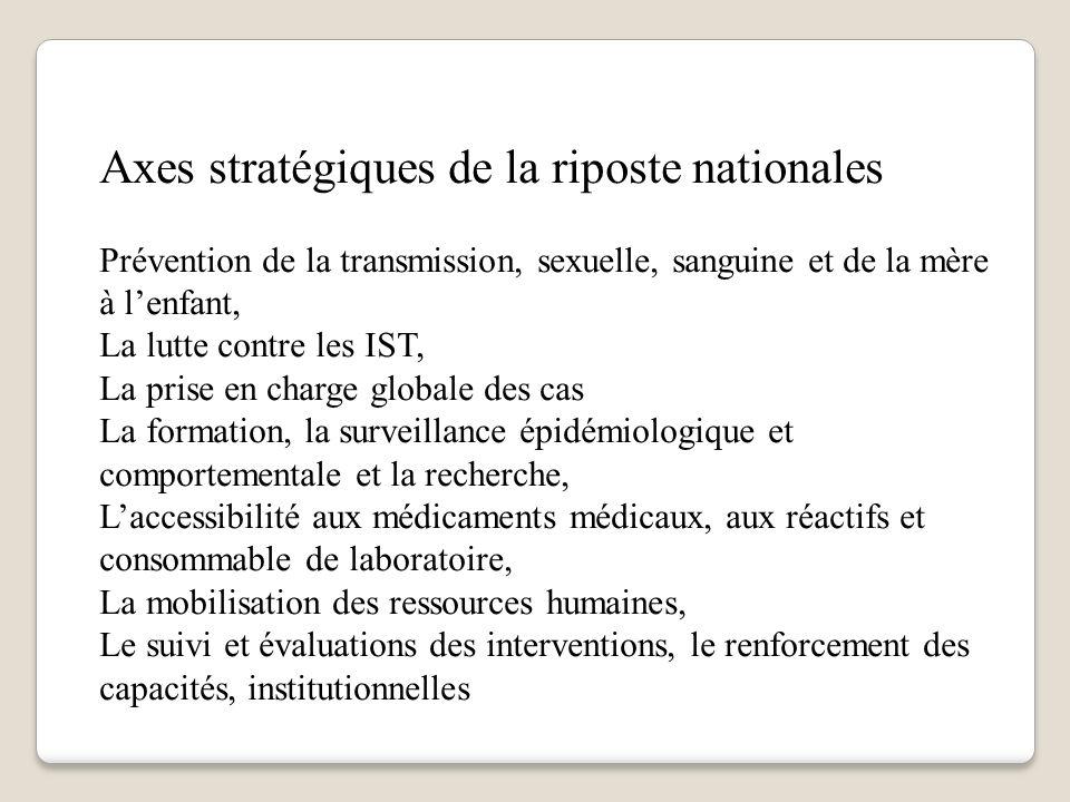 Axes stratégiques de la riposte nationales Prévention de la transmission, sexuelle, sanguine et de la mère à lenfant, La lutte contre les IST, La pris