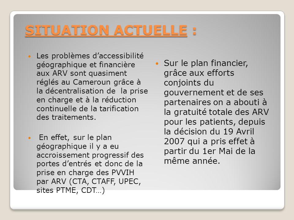 SITUATION ACTUELLE : Les problèmes daccessibilité géographique et financière aux ARV sont quasiment réglés au Cameroun grâce à la décentralisation de