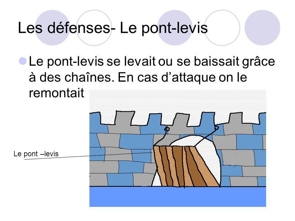 Les défenses- Le pont-levis Le pont-levis se levait ou se baissait grâce à des chaînes. En cas dattaque on le remontait Le pont –levis