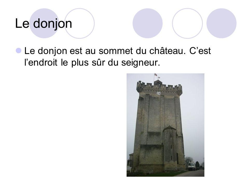 Le donjon Le donjon est au sommet du château. Cest lendroit le plus sûr du seigneur.