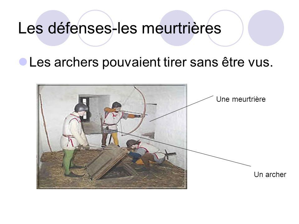 Les défenses-les meurtrières Les archers pouvaient tirer sans être vus. Une meurtrière Un archer