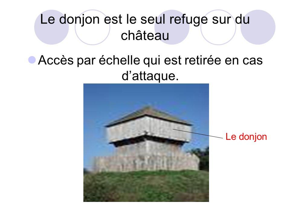 Le donjon est le seul refuge sur du château Accès par échelle qui est retirée en cas dattaque. Le donjon