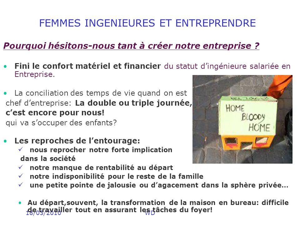 18/03/2010WD FEMMES INGENIEURES ET ENTREPRENDRE Pourquoi hésitons-nous tant à créer notre entreprise ? Fini le confort matériel et financier du statut