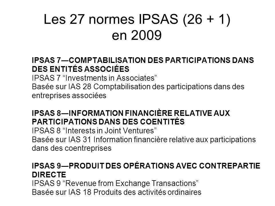 Les 27 normes IPSAS (26 + 1) en 2009 IPSAS 7COMPTABILISATION DES PARTICIPATIONS DANS DES ENTITÉS ASSOCIÉES IPSAS 7 Investments in Associates Basée sur
