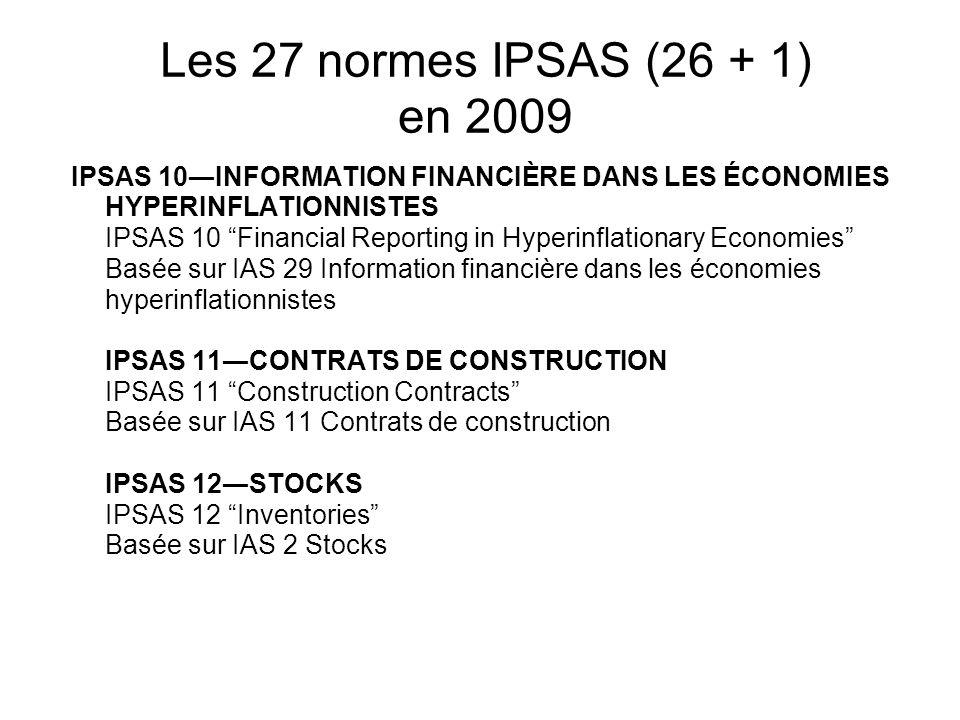 Les 27 normes IPSAS (26 + 1) en 2009 IPSAS 10INFORMATION FINANCIÈRE DANS LES ÉCONOMIES HYPERINFLATIONNISTES IPSAS 10 Financial Reporting in Hyperinfla