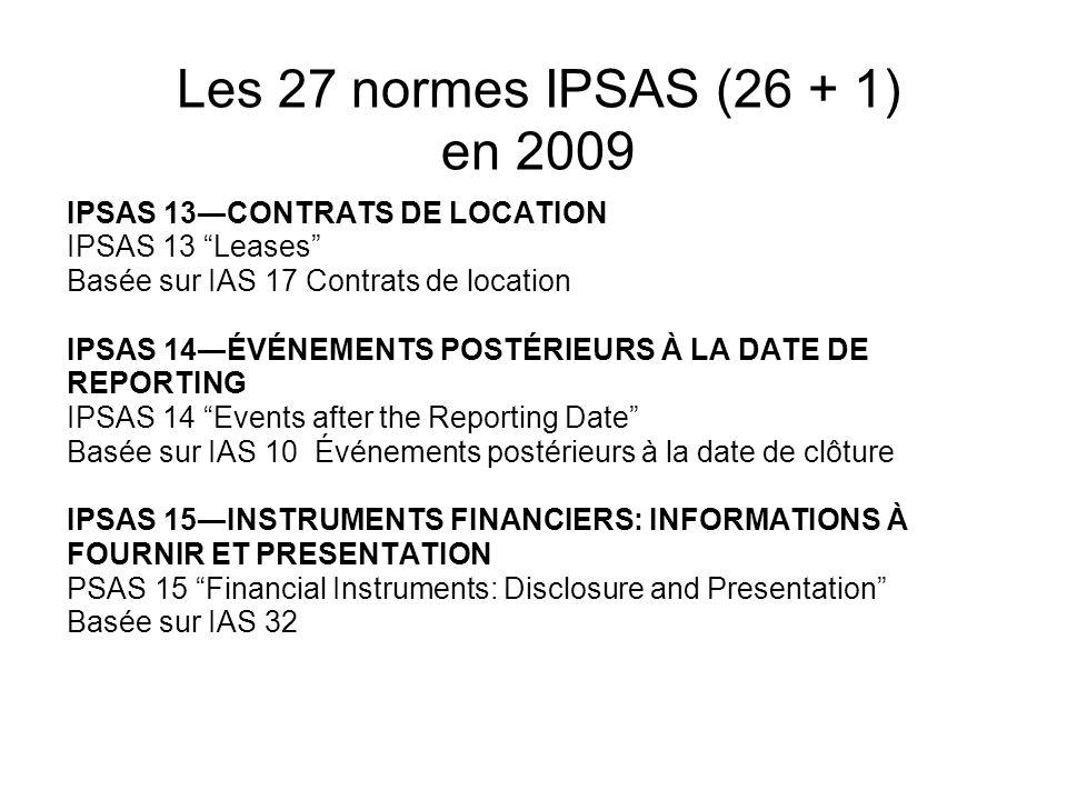 Les 27 normes IPSAS (26 + 1) en 2009 IPSAS 13CONTRATS DE LOCATION IPSAS 13 Leases Basée sur IAS 17 Contrats de location IPSAS 14ÉVÉNEMENTS POSTÉRIEURS