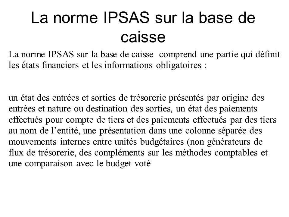 La norme IPSAS sur la base de caisse comprend une partie qui définit les états financiers et les informations obligatoires : un état des entrées et so