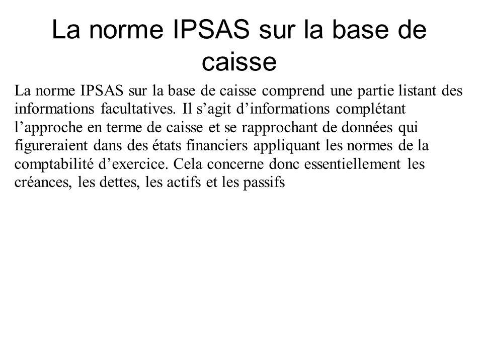 La norme IPSAS sur la base de caisse comprend une partie listant des informations facultatives. Il sagit dinformations complétant lapproche en terme d