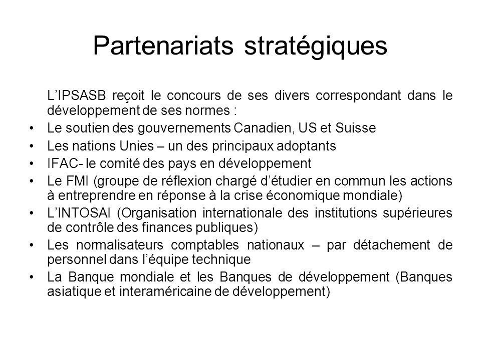 Partenariats stratégiques LIPSASB reçoit le concours de ses divers correspondant dans le développement de ses normes : Le soutien des gouvernements Ca