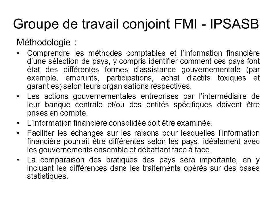 Groupe de travail conjoint FMI - IPSASB Méthodologie : Comprendre les méthodes comptables et linformation financière dune sélection de pays, y compris