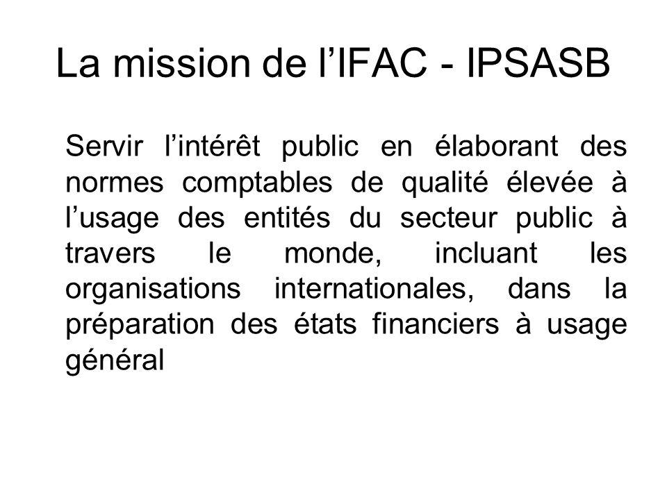 La mission de lIFAC - IPSASB Servir lintérêt public en élaborant des normes comptables de qualité élevée à lusage des entités du secteur public à trav