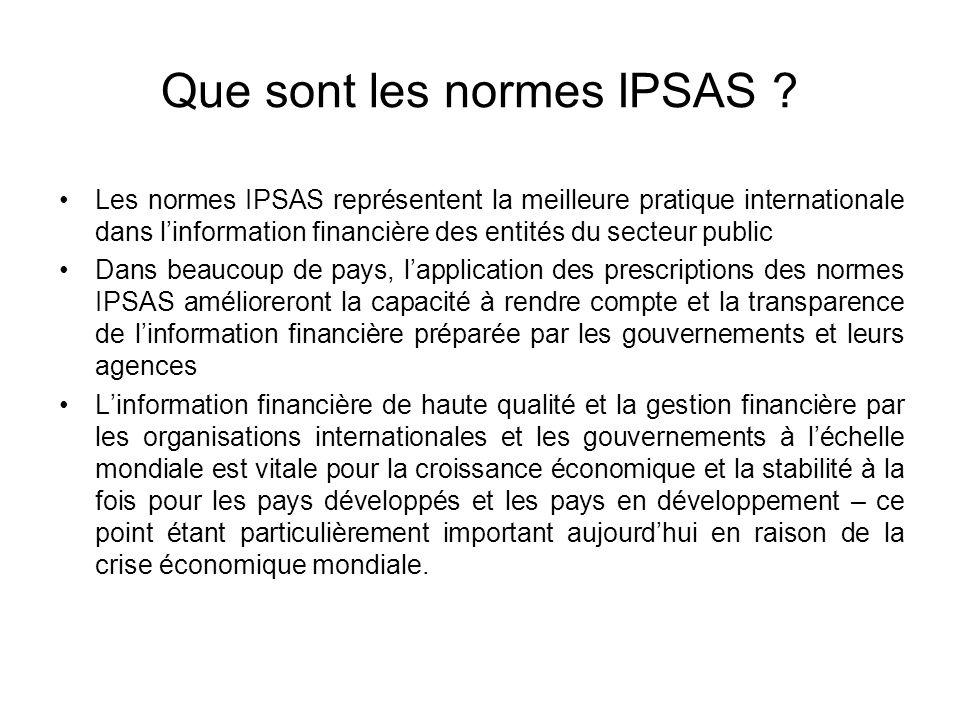 Que sont les normes IPSAS ? Les normes IPSAS représentent la meilleure pratique internationale dans linformation financière des entités du secteur pub