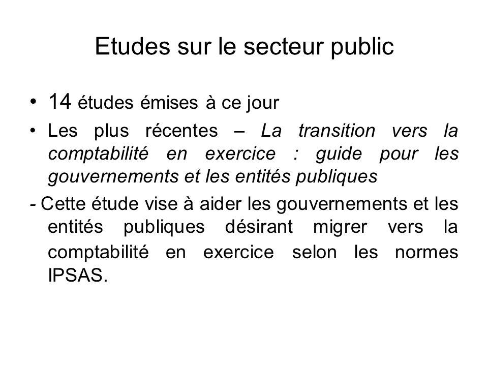 Etudes sur le secteur public 14 études émises à ce jour Les plus récentes – La transition vers la comptabilité en exercice : guide pour les gouverneme