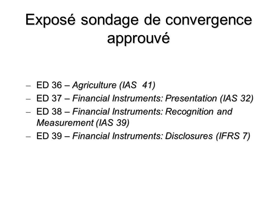Exposé sondage de convergence approuvé – ED 36 – Agriculture (IAS 41) – ED 37 – Financial Instruments: Presentation (IAS 32) – ED 38 – Financial Instr