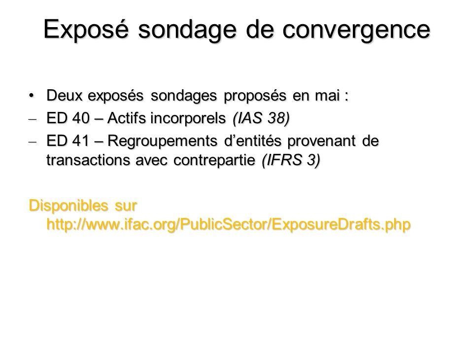 Exposé sondage de convergence Deux exposés sondages proposés en mai :Deux exposés sondages proposés en mai : – ED 40 – Actifs incorporels (IAS 38) – E