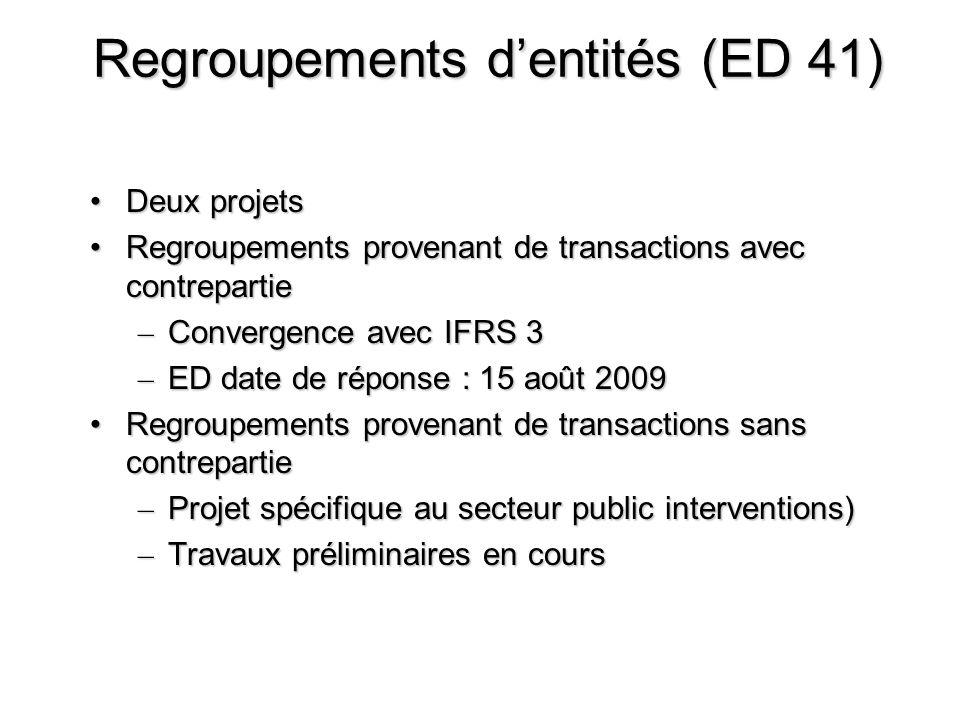 Regroupements dentités (ED 41) Deux projetsDeux projets Regroupements provenant de transactions avec contrepartieRegroupements provenant de transactio