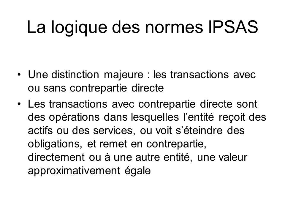 La logique des normes IPSAS Une distinction majeure : les transactions avec ou sans contrepartie directe Les transactions avec contrepartie directe so