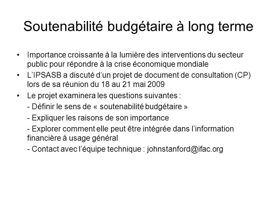 Soutenabilité budgétaire à long terme Importance croissante à la lumière des interventions du secteur public pour répondre à la crise économique mondi