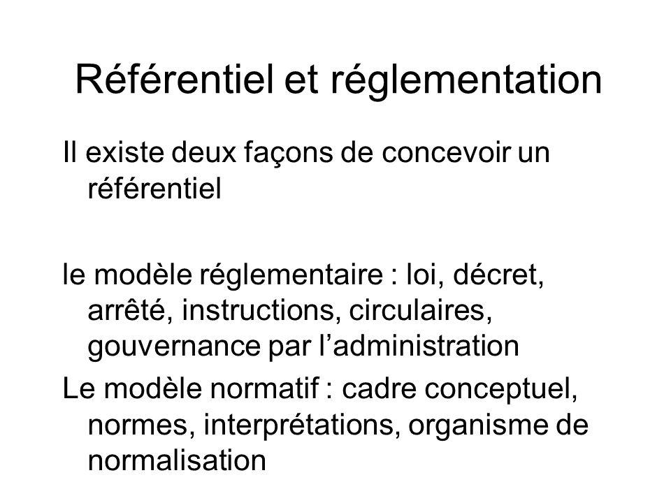 Référentiel et réglementation Il existe deux façons de concevoir un référentiel le modèle réglementaire : loi, décret, arrêté, instructions, circulair