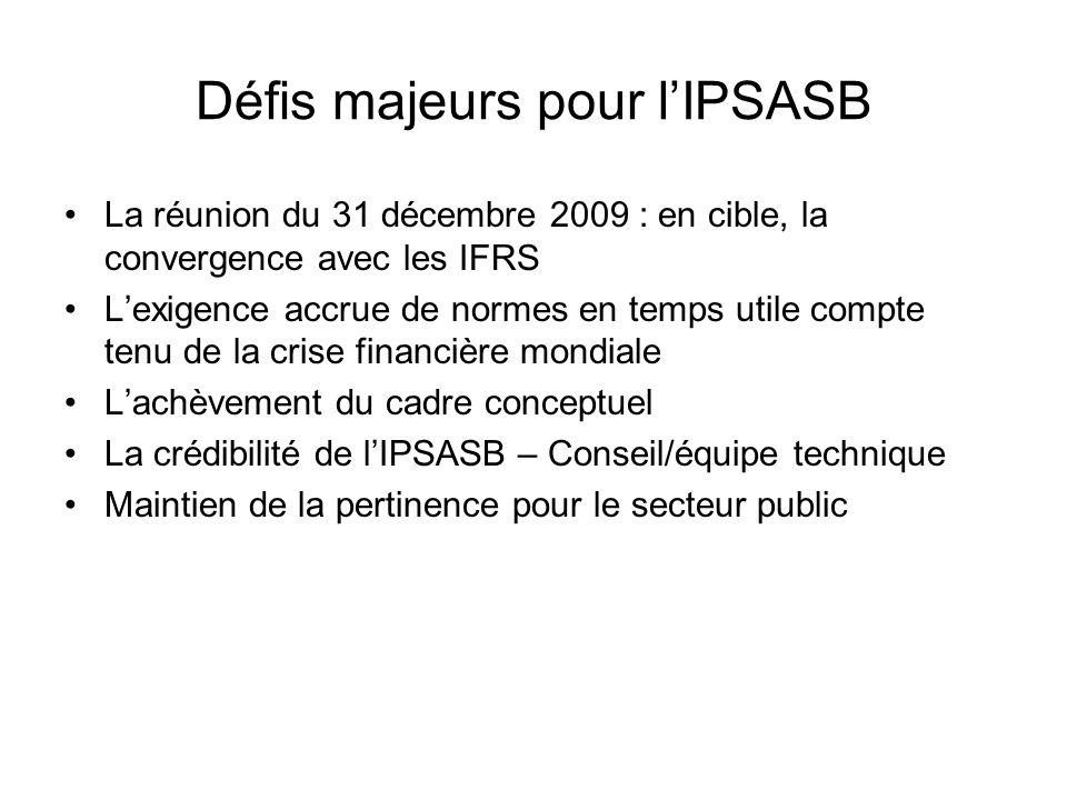 Défis majeurs pour lIPSASB La réunion du 31 décembre 2009 : en cible, la convergence avec les IFRS Lexigence accrue de normes en temps utile compte te