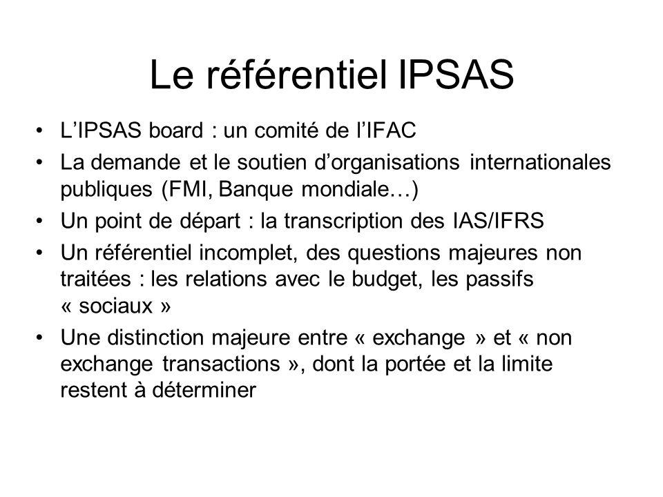 Le référentiel IPSAS LIPSAS board : un comité de lIFAC La demande et le soutien dorganisations internationales publiques (FMI, Banque mondiale…) Un po