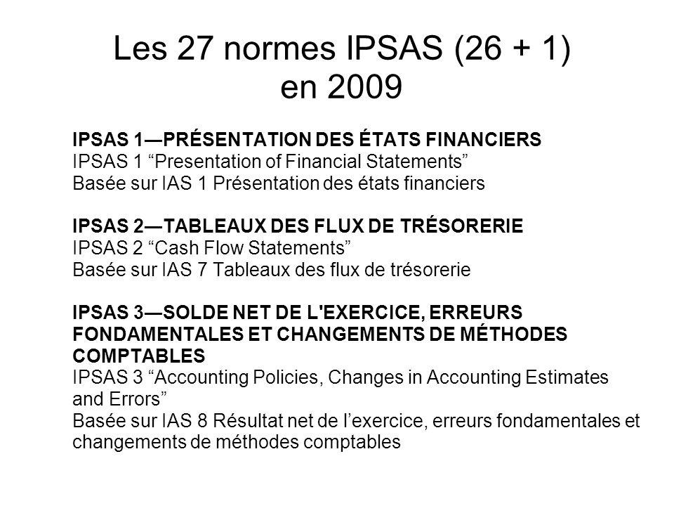 Les 27 normes IPSAS (26 + 1) en 2009 IPSAS 1PRÉSENTATION DES ÉTATS FINANCIERS IPSAS 1 Presentation of Financial Statements Basée sur IAS 1 Présentatio