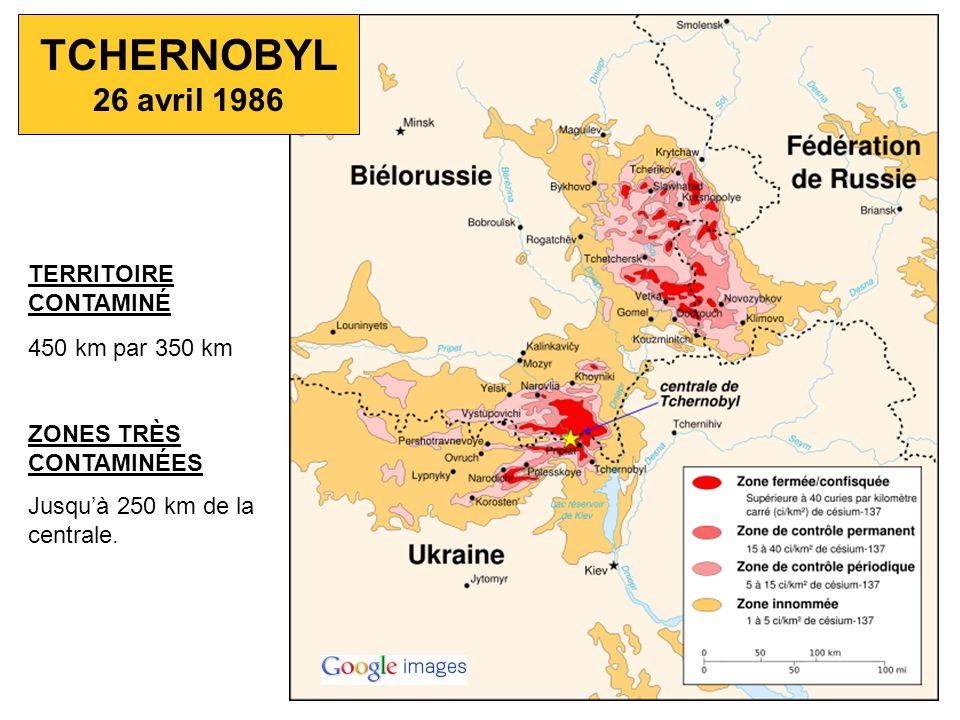 TERRITOIRE CONTAMINÉ 450 km par 350 km ZONES TRÈS CONTAMINÉES Jusquà 250 km de la centrale. TCHERNOBYL 26 avril 1986