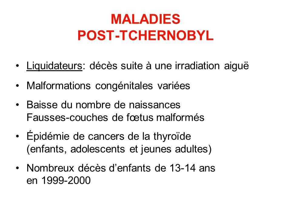 MALADIES POST-TCHERNOBYL Liquidateurs: décès suite à une irradiation aiguë Malformations congénitales variées Baisse du nombre de naissances Fausses-c