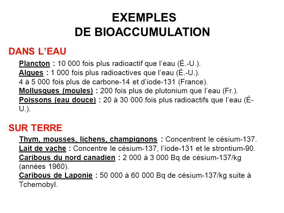 EXEMPLES DE BIOACCUMULATION DANS LEAU Plancton : 10 000 fois plus radioactif que leau (É.-U.). Algues : 1 000 fois plus radioactives que leau (É.-U.).