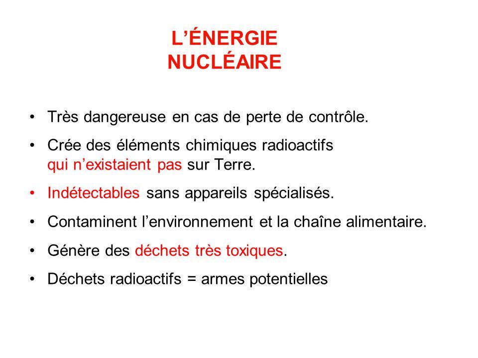 LÉNERGIE NUCLÉAIRE Très dangereuse en cas de perte de contrôle. Crée des éléments chimiques radioactifs qui nexistaient pas sur Terre. Indétectables s