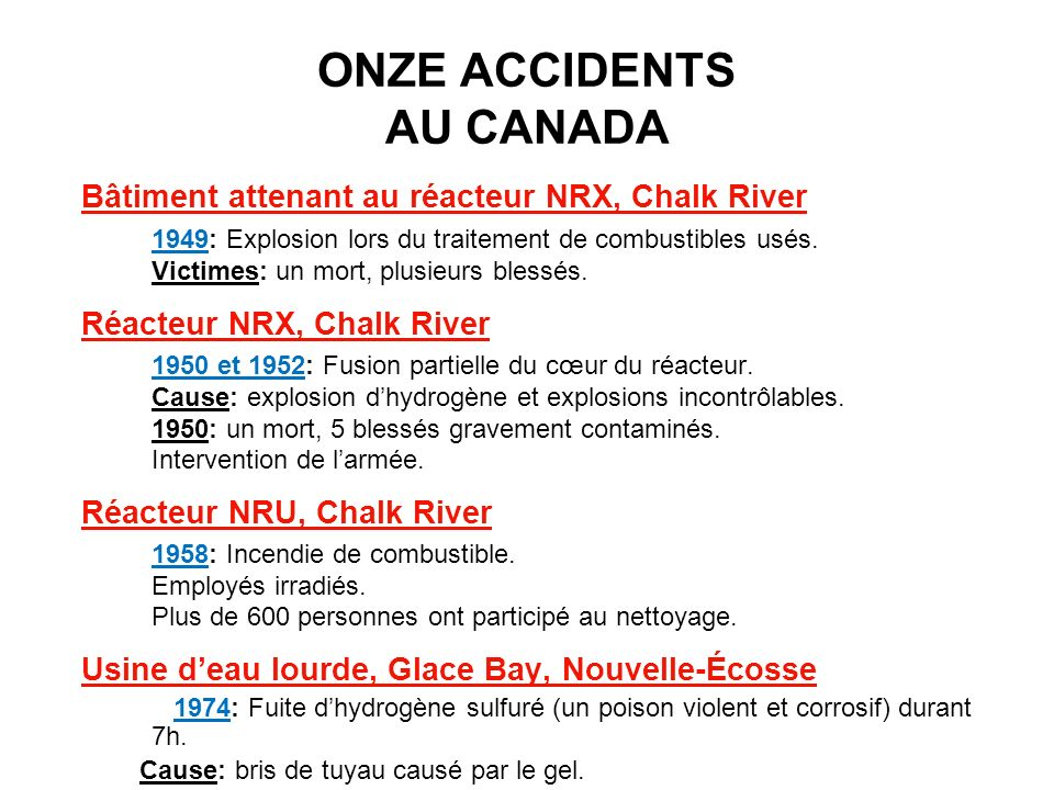 ONZE ACCIDENTS AU CANADA Bâtiment attenant au réacteur NRX, Chalk River 1949: Explosion lors du traitement de combustibles usés. Victimes: un mort, pl