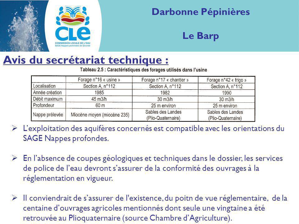 Proposition davis : Considérant : les aquifères visés par les prélèvements, le contenu technique du dossier, le bureau de la CLE juge la demande compatible avec le SAGE Nappes profondes de Gironde.