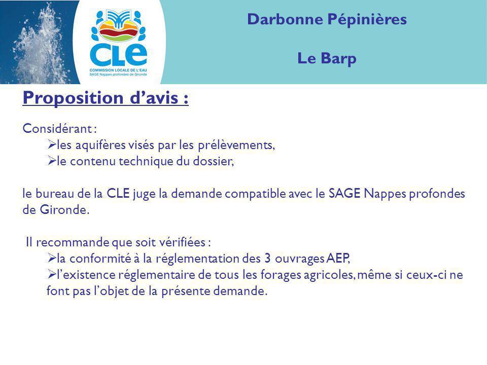 Proposition davis : Considérant : les aquifères visés par les prélèvements, le contenu technique du dossier, le bureau de la CLE juge la demande compa
