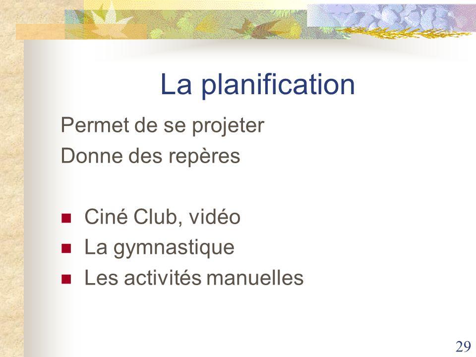 29 La planification Permet de se projeter Donne des repères Ciné Club, vidéo La gymnastique Les activités manuelles