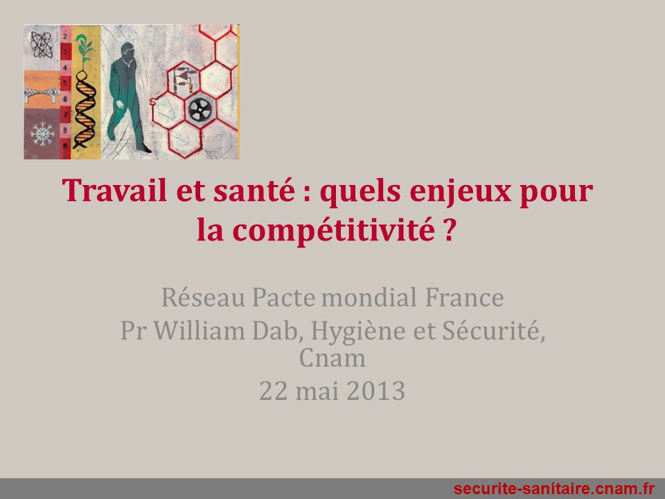 securite-sanitaire.cnam.fr Travail et santé : quels enjeux pour la compétitivité ? Réseau Pacte mondial France Pr William Dab, Hygiène et Sécurité, Cn