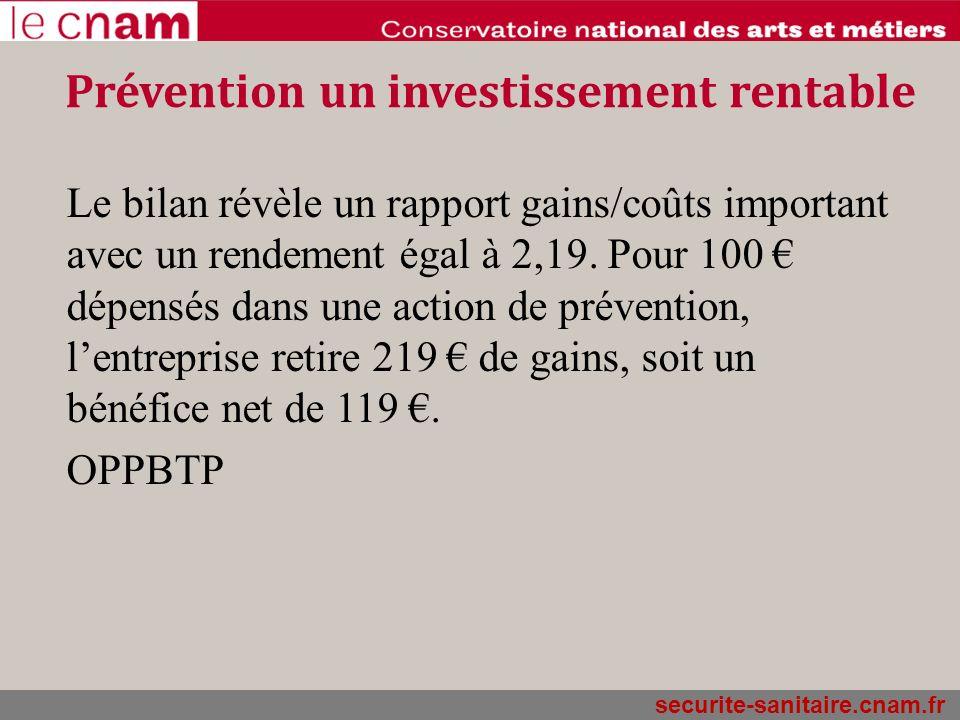 securite-sanitaire.cnam.fr Prévention un investissement rentable Le bilan révèle un rapport gains/coûts important avec un rendement égal à 2,19. Pour